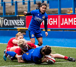 Sofia Stefan of Italy scores her sides third try<br /> <br /> Photographer Simon King/Replay Images<br /> <br /> Six Nations Round 1 - Wales Women v Italy Women - Saturday 2nd February 2020 - Cardiff Arms Park - Cardiff<br /> <br /> World Copyright © Replay Images . All rights reserved. info@replayimages.co.uk - http://replayimages.co.uk