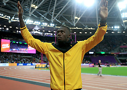 Jamaica's Usain Bolt on his lap of honour during day ten of the 2017 IAAF World Championships at the London Stadium. PRESS ASSOCIATION Photo. Picture date: Sunday August 13, 2017. See PA story ATHLETICS World. Photo credit should read: Adam Davy/PA Wire. RESTRICTIONS: Editorial use only. No transmission of sound or moving images and no video simulation.
