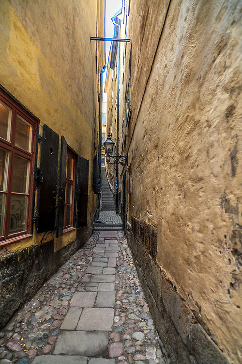 Mårten Trotzigs gränd is an alley in Gamla stan, the old town of Stockholm, Sweden. <br /> The alley is the narrowest street in Stockholm tapering down to only 90 cm. It leads from Västerlånggatan and Järntorget up to Prästgatan and Tyska Stallplan.