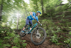 Mountain biker riding downhill in forest, Bavaria, Germany