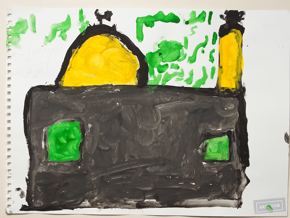 During the war (?) : A mosque. Alone. Drawing by a 10 year old Syrian boy. (Topic for session: draw your impression of life before, during and after the war.)