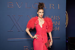 Anna Cleveland arriving for the Bulgari XX 20th anniversary party in Rome