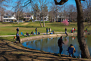 Spring Lake, NJ, USA -- April 8, 2017. Anglers come to Spring Lake for the opening day of the fishing season