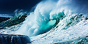 Surf on Oahu's famed north shore, Hawaii