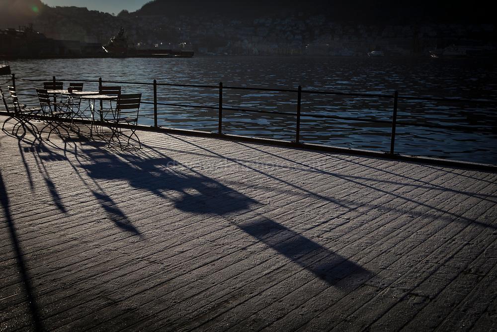 Winter shadows in Verftet, Nordnes, Bergen, Norway