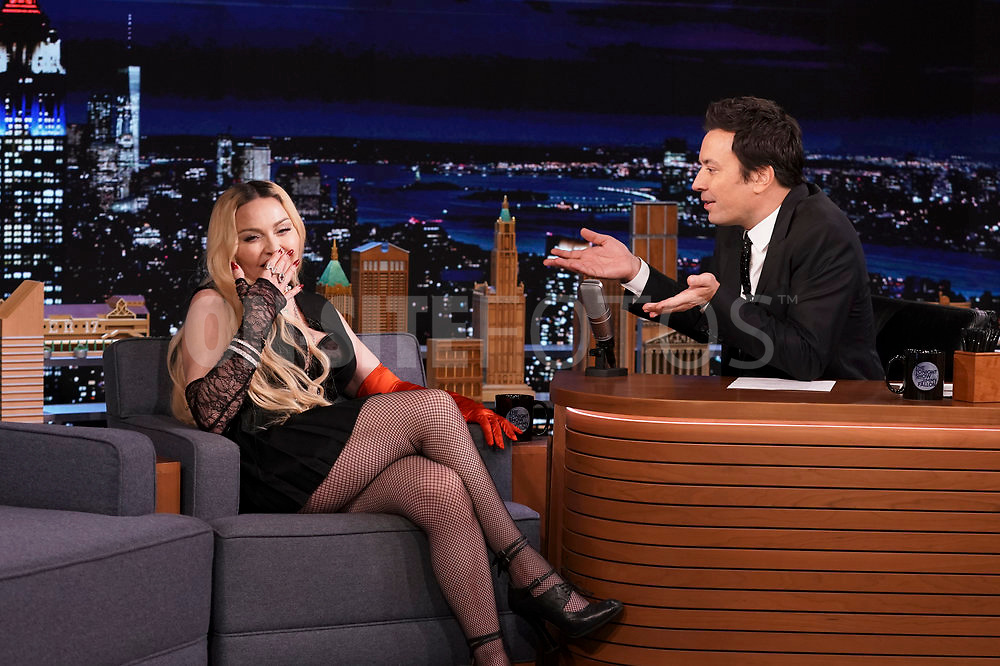 THE TONIGHT SHOW STARRING JIMMY FALLON -- Episode 1531 -- Pictured: (l-r) Singer Madonna during an interview with host Jimmy Fallon on Thursday, October 7, 2021 -- (Photo by: Sean Gallagher/NBC)