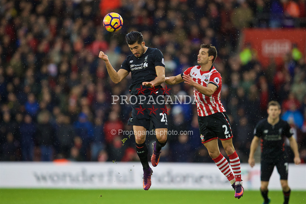 SOUTHAMPTON, ENGLAND - Saturday, November 19, 2016: Liverpool's Emre Can in action against Southampton's Cedric Soares during the FA Premier League match at St. Mary's Stadium. (Pic by David Rawcliffe/Propaganda)