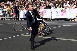 June 24, 2017 - Paris, France, France - Emmanuel Macron - president de la Republique.jouant au tennis avec Marion Bartoli - Fabrice Santoro - Charlotte Famin - Mickael Jeremiaz et Lucas Pouille (Credit Image: © Panoramic via ZUMA Press)
