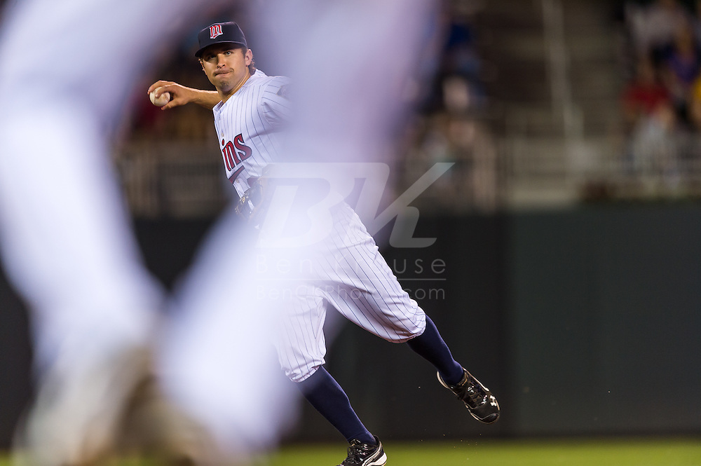 Seen through the legs of 1st baseman Justin Morneau (33) of the Minnesota Twins, Brian Dozier (20) makes a throw to 1st base during a game against the Tampa Bay Rays on August 10, 2012 at Target Field in Minneapolis, Minnesota.  The Rays defeated the Twins 12 to 6.  Photo: Ben Krause
