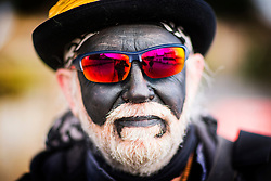 DATE CORRECTION. IMAGES SHOT 14/01/2017 © Licensed to London News Pictures. 14/01/2017. Whittlesey UK. Picture shows a member of the Witchmen Molly dancers at the 38th Whittlesey Straw Bear Festival this weekend. In times past when starvation bit deep the ploughmen of the area where drawn to towns like Whittlesey, They knocked on doors begging for food & disguised their shame by blackening their faces with soot. In Whittlesey it was the custom on the Tuesday following Plough Monday to dress one of the confraternity of the plough in straw and call him a Straw Bear. The bear was then taken around town to entertain the folk who on the previous day had subscribed to the rustics, a spread of beer, tobacco & beef. The bear was made to dance in front of houses & gifts of money, beer & food was expected. Photo credit: Andrew McCaren/LNP
