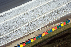 Whitby Beach huts from the cliff top North Yorkshire.September 2010 .Images © Paul David Drabble