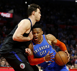 March 8, 2019 - Los Angeles, California, U.S - Oklahoma City Thunder's Russell Westbrook (0) drives against Los Angeles Clippers' Danilo Gallinari (8) during an NBA basketball game between Los Angeles Clippers and Oklahoma City Thunder Friday, March 8, 2019, in Los Angeles. (Credit Image: © Ringo Chiu/ZUMA Wire)