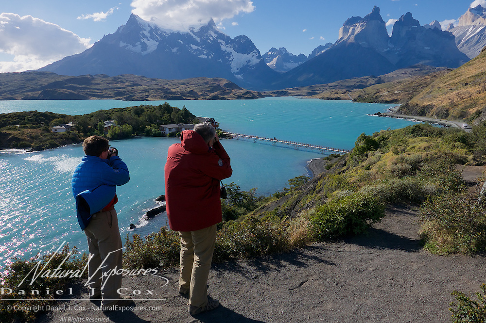 Fred and Brian photograph the beautiful mountains along the road way in Torres del Paine National Park. Patagonia, Argentina