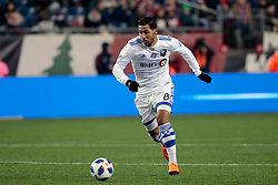 April 28, 2018 - Foxborough, MA, U.S. - FOXBOROUGH, MA - APRIL 06: Montreal Impact midfielder Saphir Taider (8) dribbles the ball forward during a match between the New England Revolution and the Montreal Impact on April 6, 2018, at Gillette Stadium in Foxborough, Massachusetts. The Revolution defeated the Impact 4-0. (Photo by Fred Kfoury III/Icon Sportswire) (Credit Image: © Fred Kfoury Iii/Icon SMI via ZUMA Press)
