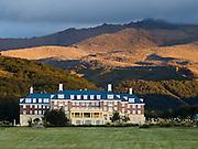 Chateau Tongariro (built 1929), Whakapapa Village, Tongariro National Park, New Zealand, North Island. In 1990 and 1993, UNESCO honored Tongariro National Park as a World Heritage Area and Cultural Landscape.