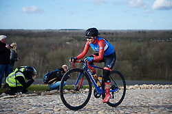 Laura Asencio (FRA) attacks the VAMberg cobbles at Drentse 8 van Westerveld 2019, a 145 km road race starting and finishing in Dwingeloo, Netherlands on March 15, 2019. Photo by Sean Robinson/velofocus.com