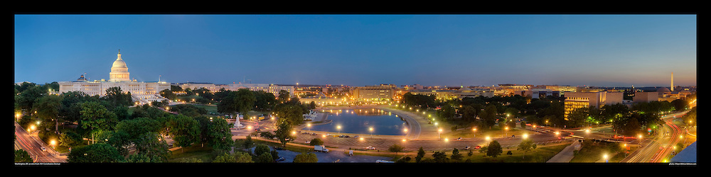 Spectacular panoramic photograph of Washington, DC.  Includes U.S. Capitol, National Gallery of Art, Washington Monument, Constitution Avenue.  Print Size (in inches): 15x4; 24x6; 36x9; 48x12; 60x15; 72x18.