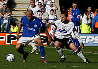 Photo: Steve Bond.<br />Leicester City v Derby County. Coca Cola Championship. 06/04/2007. Jason Jarrett (L) shields the ball from Matt Oakley (R)