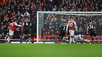 Football - 2017 / 2018 Premier League - Arsenal vs. Crystal Palace<br /> <br /> Alexandre Lacazette of Arsenal scores goal no 4 past the diving Wayne Hennessey at The Emirates.<br /> <br /> COLORSPORT/ANDREW COWIE