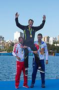 "Rio de Janeiro. BRAZIL.  NZL M1X, Gold Medalist, Mahe DRYSDALE,  CRO M1X Silver Medalist. Damir MARTIN. CZE M1X. Ondrej SYNEK Bronze Medalist 2016 Olympic Rowing Regatta. Lagoa Stadium,<br /> Copacabana,  ""Olympic Summer Games""<br /> Rodrigo de Freitas Lagoon, Lagoa.   Saturday  13/08/2016 <br /> <br /> [Mandatory Credit; Peter SPURRIER/Intersport Images]"