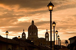 Central America, Nicaragua, Granada.  Cathedral of Granada at sunset.