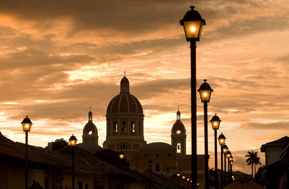 Central America, Nicaragua, Granada.  Cathedral of Granada at sunset.