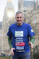 © Licensed to London News Pictures. 25/03/2015. London, England. Pictured: Richard Drax MP. Five Members of Parliament: Richard Drax, Conservative MP for South Dorset, Alun Cairns, Conservative MP for Vale of Glamorgan, Dan Jarvis, Labour's Shadow Justice Minister, Graham Evans, Conservative MP for Weaver Vale and Edward Timpson, Conservative Party's Minister for Children and Families will take time off from the General Election race to run the 2015 Virgin Money London Marathon on Sunday 26 April. Parliament dissolves on 30 March 2015, meaning all five will officially run as members of the public rather than MPs, before returning to the campaign trail to try to win back their seats in the General Election on 7 May.  Photo credit: Bettina Strenske/LNP
