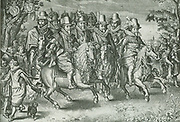 Founders of the Dutch Republic circa 1650.  Princes of the House of Orange-Nassau.  This production of an old engraving by W. Jzn. Delff (after the picture by A v.d. Venne) gives the well resembling portraits of eleven princes of the House of Orange, forming a hunting party.