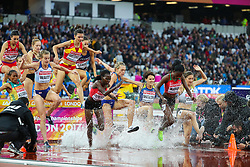 London, August 09 2017 . Purity Cherotich Kirui, Kenya, and Hyvin Kiyeng Jepkemoi, Kenya, take an early lead with Colleen Quigley, USA, in the women's 3,000m steeplechase heats on day six of the IAAF London 2017 world Championships at the London Stadium. © Paul Davey.