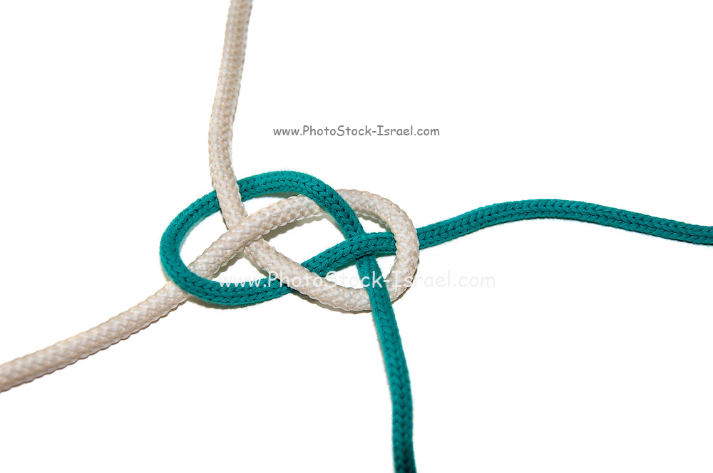 The Carrick Bend or The Josephine Knot AKA Sailor's Knot and Anchor Bend on white background Used to tie to lengths of rope together on white background. This knot joins two ropes together.
