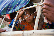 FISHERMEN MEKONG RIVER. South East Asia, Cambodia, Phnom Penh, Mekong River. The Cham fisher people live in various desolated villages along the banks of the Mekong and Tonle Sap rivers. The fisher families live like river gypsy nomads, working and living on their boats, sleeping under a sprung bamboo frame, all their worldly goods stored below deck. They live in extended families, with numerous boats, together for safety. Their diet is rice, vegetables and fish. Their sleek wooden boats are powered by petrol outboard motors with batteries or generators to supply lighting at night. Their fishing technique is laying nets twice or three times per day, which are weighted well below the surface, using old paint aerosal canisters as buoyant floaters, hanging just beneath the surface. These particular fisher families, living at the junction of the Mekong and Tonle Sap rivers, overlooked by Phnom Penh, sell their catch at the Vietnamese market, on the banks of the river. Their life and fortunes are controlled by the cycle of the river. As the river levels drop, so the quantity of fish decreases, until after the heavy floods of the monsoon they fill the river again. They are poor traditional Muslims, marginalised from mainstream society, living a third world life in the immmediate shadow of the first world. The Cham, originally a people of an ancient kingdom called Champa, are a small and disenfranchised community who were disinherited of their land. They are a socially important ethnic group in Cambodia, numbering close to 300,000. The Cham people, live in some 400 villages across Kampong Chnang and Kampong Cham provinces. Their religion is Muslim and their language belongs to the Malayo-Polynesian family. Their livelihoods are as diverse as rice farming, cattle trading, hunting and fishing.///A Cham girl looks out through the canopy of a fishing boat
