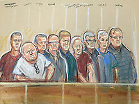 Nine members of the Hatton Garden Heist gang in court today. 4th September 2015.<br /> Four pled guilty today and will be sentenced at a later date. The remainder face a trial later this year.