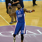 Anadolu Efes's Stephane Lasme celebrate victory during their Turkish Airlines Euroleague Basketball PlayOffs Round 3 match Anadolu Efes between Real Madrid at Abdi ipekci arena in Istanbul, Turkey, Tuesday April 21, 2015. Photo by Aykut AKICI/TURKPIX