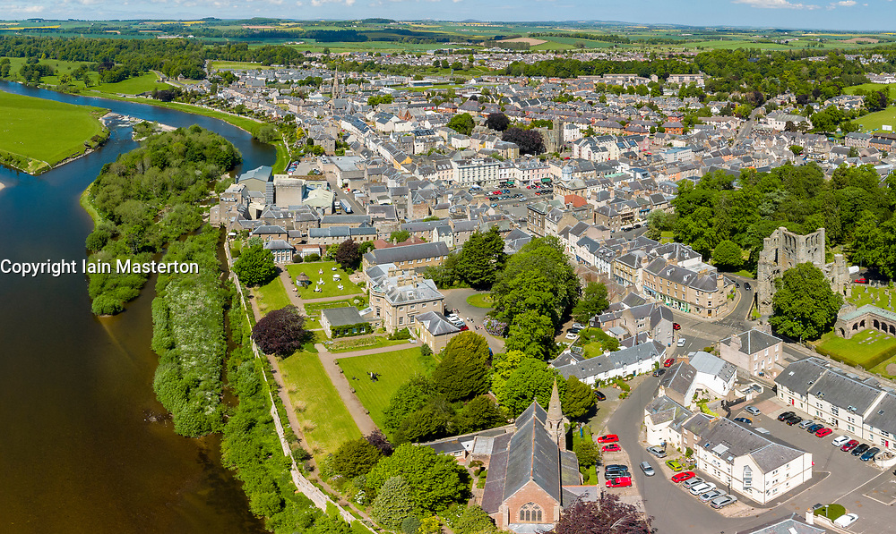 Aerial view from drone of town of Kelso beside River Tweed in Kelso, Scottish , borders, Scotland, UK