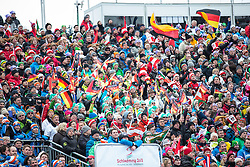 17.02.2013, Planai, Schladming, AUT, FIS Weltmeisterschaften Ski Alpin, Slalom, Herren, 2. Durchgang, im Bild Fanclub von Felix Neureuther (GER) // fans of Felix Neureuther of Germany during 2nd run of the mens Slalom at the FIS Ski World Championships 2013 at the Planai Course, Schladming, Austria on 2013/02/17. EXPA Pictures © 2013, PhotoCredit: EXPA/ Johann Groder