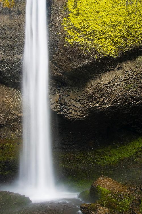 Latourell Falls and columnar basalt in Oregon's waterfall-ridden Columbia Gorge.