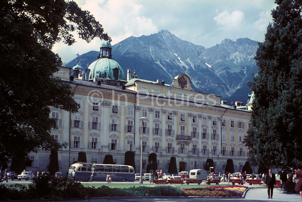 A 1970 exterior view of the Hofburg, Austrias former Hapsburg Imperial Palace, on 13th July 1970, in Innsbruck, Austria. The Kaiserliche Hofburg is considered one of the three most significant cultural buildings in the country, along with the Schonbrunn Palace in Vienna.