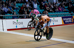 Matthew Rotherham (left) and Robert Forstemann in the Men's Sprint Final during day one of the Six Day Series Manchester at the HSBC UK National Cycling Centre.