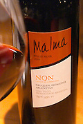 Bottle of Malma Pinot Noir NQN Bodega NQN Winery, Vinedos de la Patagonia, Neuquen, Patagonia, Argentina, South America