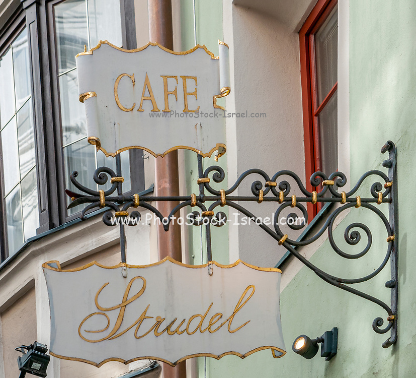 Coffee and Strudel shop sign in Hofgasse Street Innsbruck, Austria