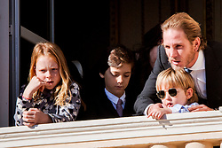 Andrea Casiraghi, Tatiana Santo Domingo and their daughter India, their son Sacha at the balcony of the royal palace during the National Day celebrations in Monaco, on November 19, 2017. Photo by Robin Utrecht/ABACAPRESS.COM