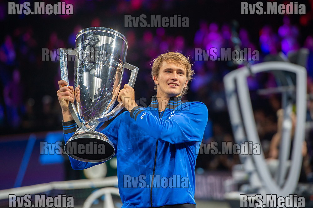 GENEVA, SWITZERLAND - SEPTEMBER 22: Alexander Zverev of Team Europe celebrates with the trophy during Day 3 of the Laver Cup 2019 at Palexpo on September 20, 2019 in Geneva, Switzerland. The Laver Cup will see six players from the rest of the World competing against their counterparts from Europe. Team World is captained by John McEnroe and Team Europe is captained by Bjorn Borg. The tournament runs from September 20-22. (Photo by Robert Hradil/RvS.Media)