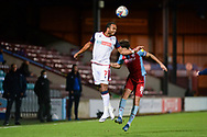Bolton Wanderers Nathan Delfouneso (7) heads the ball during the EFL Sky Bet League 2 match between Scunthorpe United and Bolton Wanderers at the Sands Venue Stadium, Scunthorpe, England on 24 November 2020.