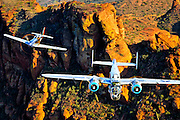 P-51 Mustang Fighter and B-25 Mitchell Bomber in color photographic fine art print