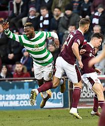 CelticÕs Moussa Dembele is brought down by Hearts Rafal Grzelak during the Ladbrokes Scottish Premiership match at Tynecastle Stadium, Edinburgh.