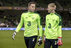 November 15, 2018 - Dublin, Ireland - Goalkeepers Colin Doyle and Caoimhin Kelleher of Ireland pictured during the International Friendly match between Republic of Ireland and Northern Ireland at Aviva Stadium in Dublin, Ireland on November 15, 2018  (Credit Image: © Andrew Surma/NurPhoto via ZUMA Press)