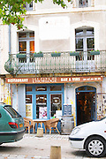 Restaurant l'Horloge, the clock, on the main square. Montpeyroux. Languedoc. France. Europe.