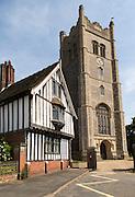 Guildhall building and Parish Church of Saint Peter and Saint Paul, Eye, Suffolk, England, UK