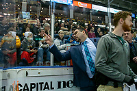 KELOWNA, CANADA - FEBRUARY 15:  Everett Silvertips' head coach Dennis Williams yells at Kelowna Rockets' head coach Adam Foote during first period on February 15, 2019 at Prospera Place in Kelowna, British Columbia, Canada.  (Photo by Marissa Baecker/Shoot the Breeze)