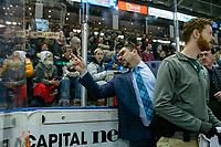 KELOWNA, CANADA - FEBRUARY 15:  Everett Silvertips' head coach Dennis Williams yells at Kelowna Rockets' head coach Adam Foote during first period on February 15, 2019 at Prospera Place in Kelowna, British Columbia, Canada.  (Photo by Marissa Baecker/Shoot the Breeze)